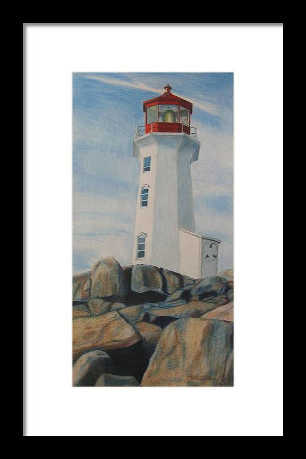 Landscape Framed Print featuring the drawing Peggys Cove Lighthouse by Matthew Handy