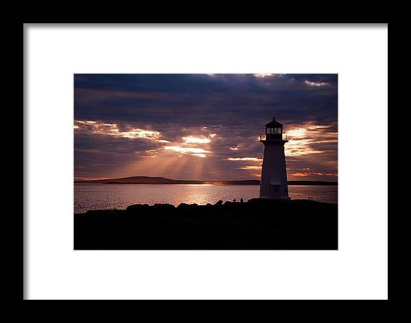 Nova Scotia Framed Print featuring the photograph Peggy's Cove Lighthouse Silhouette by Andre Distel