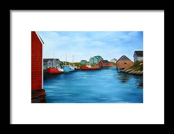 Cove Framed Print featuring the painting Peggys Cove Nova Scotia by Sharon Steinhaus