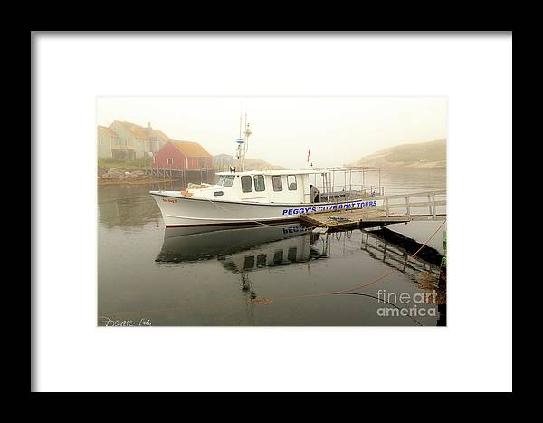 Peggy's_cove_tours_boat Framed Print featuring the photograph Peggy's Cove Tours Boat In The Rain by Csaba Demzse