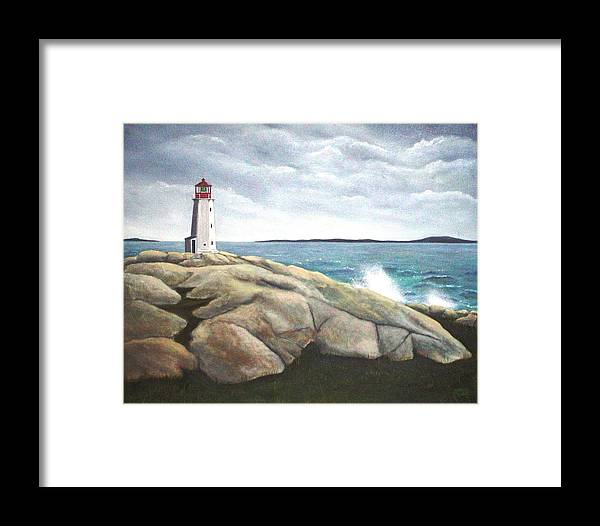 Original Painting Of Lighthouse Framed Print featuring the painting Peggys Light Nova Scotia by Sharon Steinhaus