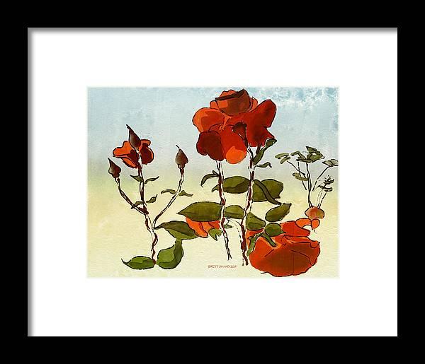 Brett Shand Watercolour Artrage Digital Flower Garden Roses Red Green Leaves Framed Print featuring the photograph Peka Peka Roses by Brett Shand