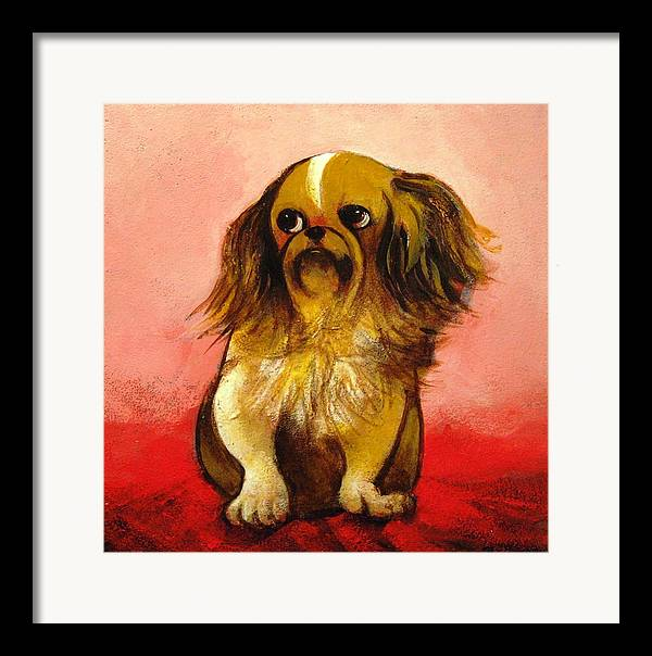 Dog Framed Print featuring the painting Pekinese by Christine McGinnis