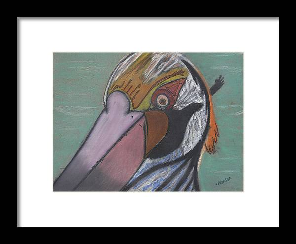 Pelican Framed Print featuring the painting Pelican Face by Stu Hanson