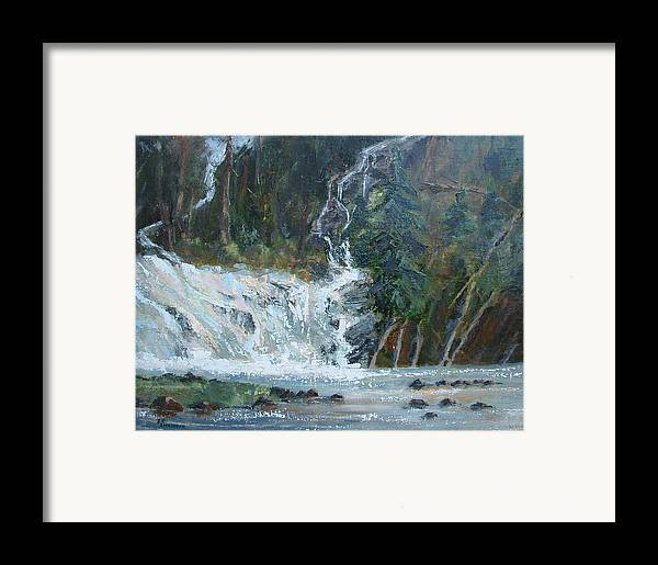 Landscape Framed Print featuring the painting Pelican Falls by Bryan Alexander
