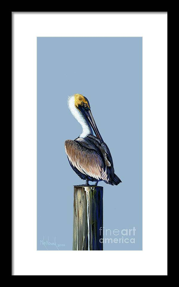 Pelican Framed Print featuring the painting Pelican by Michael Nowak