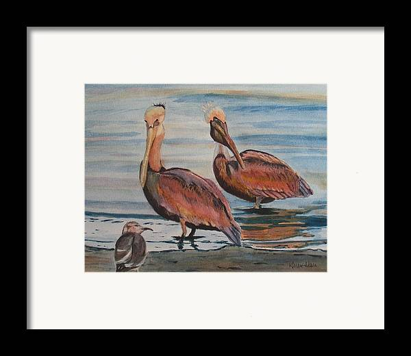 Pelicans Framed Print featuring the painting Pelican Party by Karen Ilari