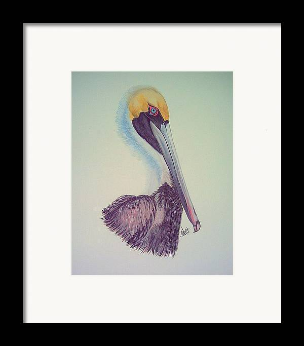 Pelican Framed Print featuring the painting Pelican Prince by Kathern Welsh