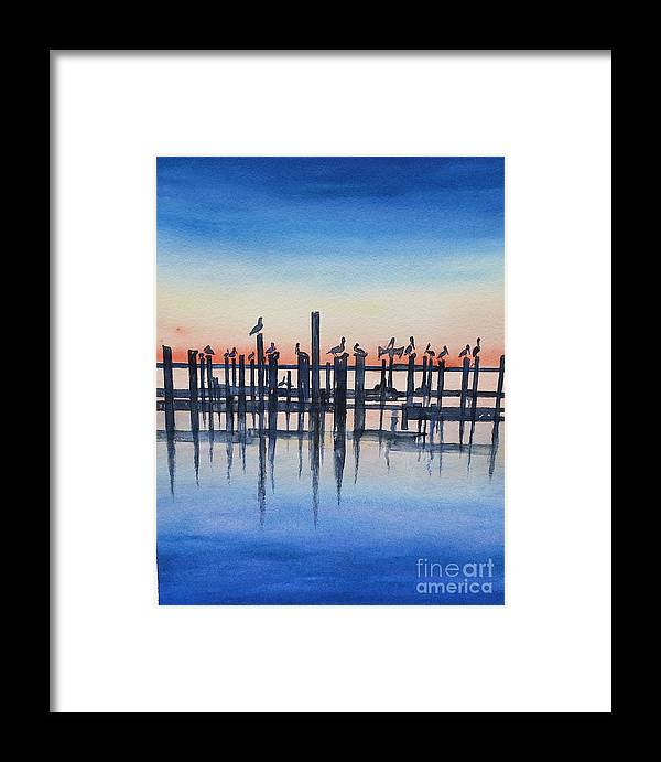 Water Framed Print featuring the painting Pelicans At Dusk by Catherine Wilson