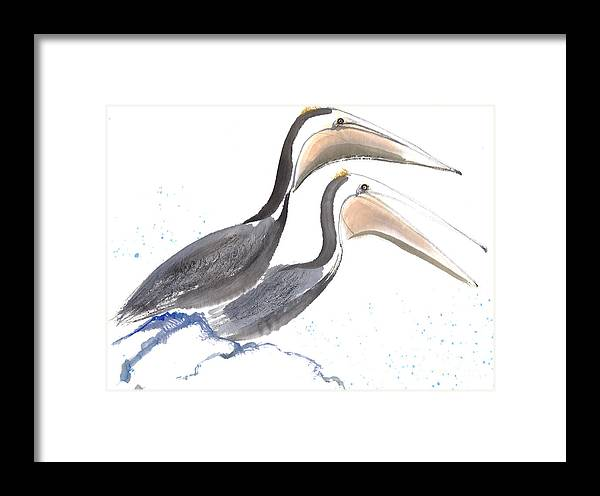 A Pair Of Pelican Is Perching On Rock. This Is A Contemporary Chinese Ink And Color On Rice Paper Painting With Simple Zen Style Brush Strokes.  Framed Print featuring the painting Pelicans by Mui-Joo Wee
