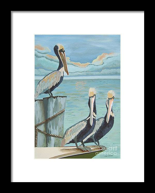 Seascape Framed Print featuring the painting Pelicans Three by Jennifer Donald