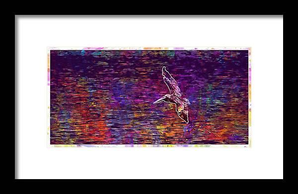 Pelikan Framed Print featuring the digital art Pelikan Bird Brown Pelican by PixBreak Art