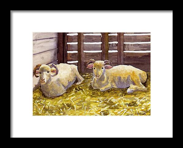 Sheep Framed Print featuring the painting Pen Pals by Sharon E Allen
