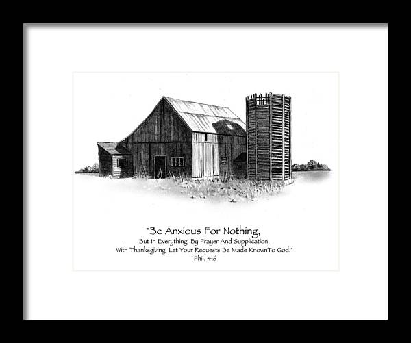 Barn Framed Print featuring the drawing Pencil Drawing Of Old Barn With Bible Verse by Joyce Geleynse