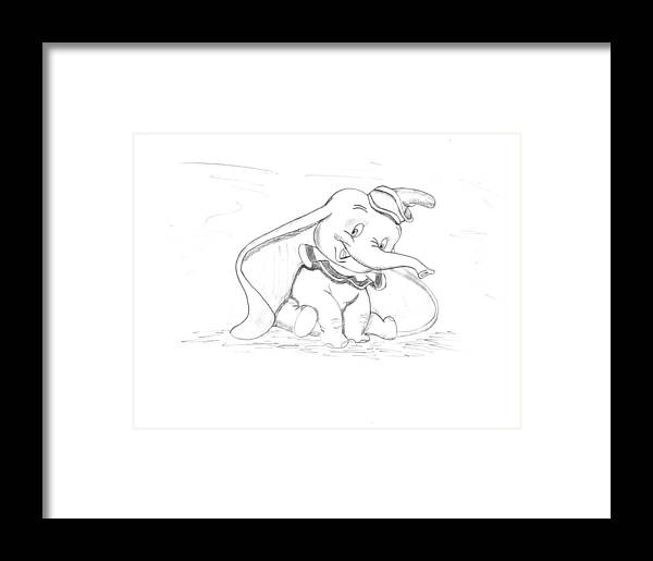 Walt Framed Print featuring the drawing Pencil Drawing Of Walt Disney's Dumbo by Eric Strickland
