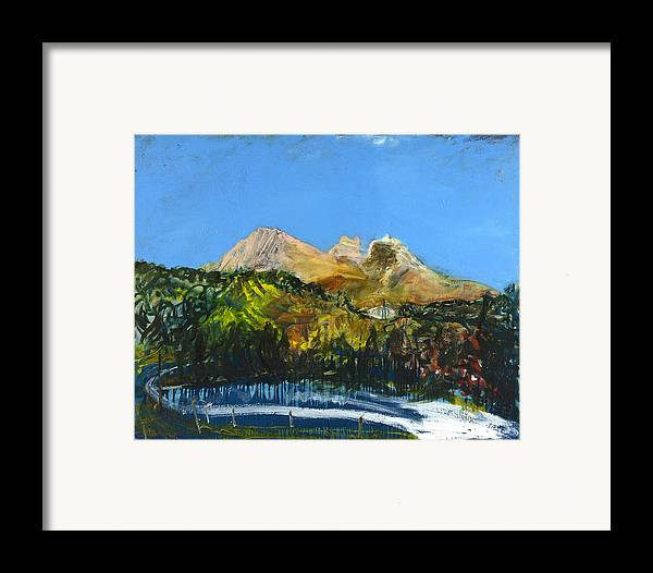 Landscape Mountains Road Blue Sky Trees Cyprus Framed Print featuring the painting Pendaktylos by Joan De Bot
