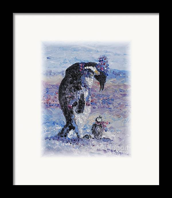 Penguins Winter Snow Blue Purple White Framed Print featuring the painting Penguin Love by Nadine Rippelmeyer