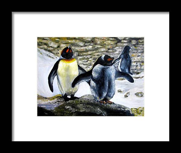 Oil On Canvas Framed Print featuring the painting Penguines Original Oil Painting by Natalja Picugina