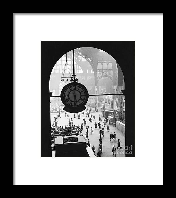 Historic Framed Print featuring the photograph Penn Station Clock by Van D Bucher and Photo Researchers