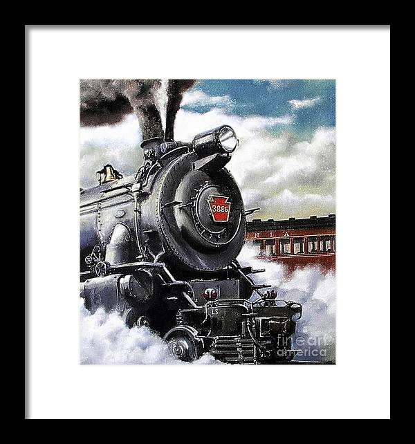 Pennsylvania Railroad Train Painting Railroad Maryland And Pennsylvania Autumn Fall Colors Steam Engine Framed Print featuring the painting Pennsy #3885 by David Mittner