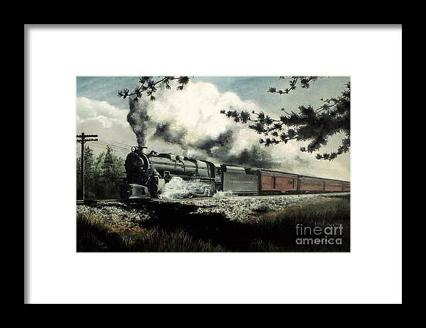 Pennsylvania Railroad Prr Train Painting Railroad Maryland And Pennsylvania Autumn Fall Colors Steam Engine Framed Print featuring the pastel Pennsy in the Pines by David Mittner