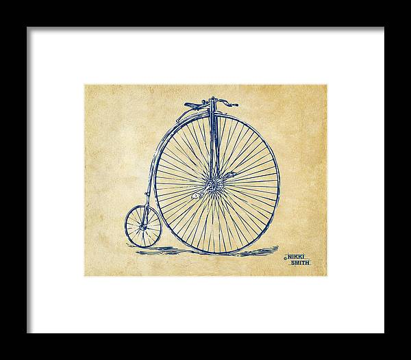Penny-farthing Framed Print featuring the digital art Penny-farthing 1867 High Wheeler Bicycle Vintage by Nikki Marie Smith