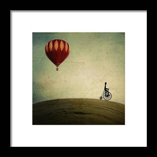 Hot Air Balloon Framed Print featuring the photograph Penny Farthing for Your Thoughts by Irene Suchocki
