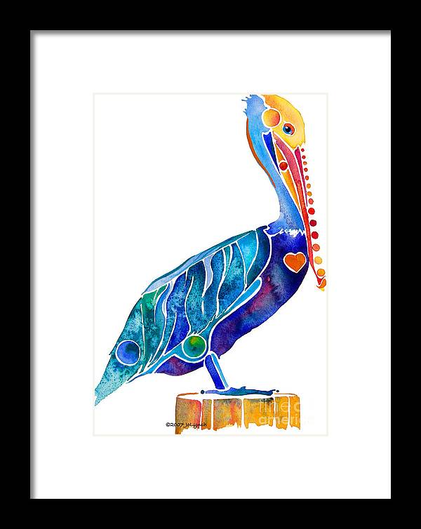 Pelican Framed Print featuring the painting Penny Pelican by Jo Lynch