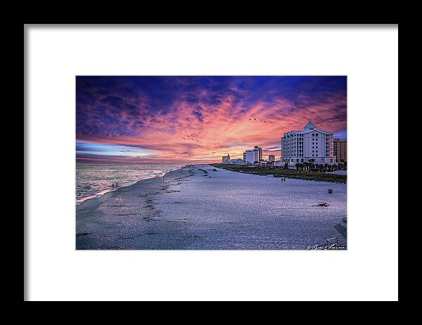 Brent Shavnore Pensacola Beach Sunset Emerald Coast Escambia County Framed Print featuring the digital art Pensacola Beach Vibrant Sunset by Brent Shavnore