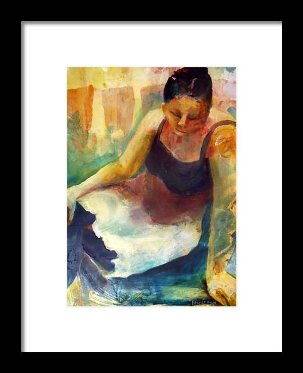 Female Figure Framed Print featuring the painting Pensive by Buff Holtman