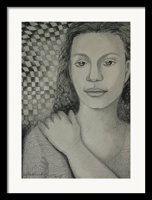 Figurative Framed Print featuring the drawing Pensiveness by Padmakar Kappagantula