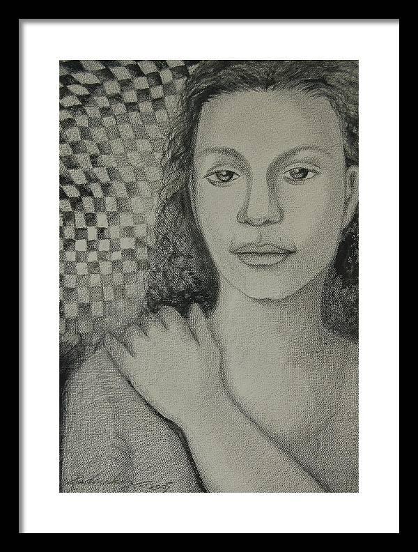 Figurative Framed Print featuring the drawing Pensiveness by Padmakar Kappagantula