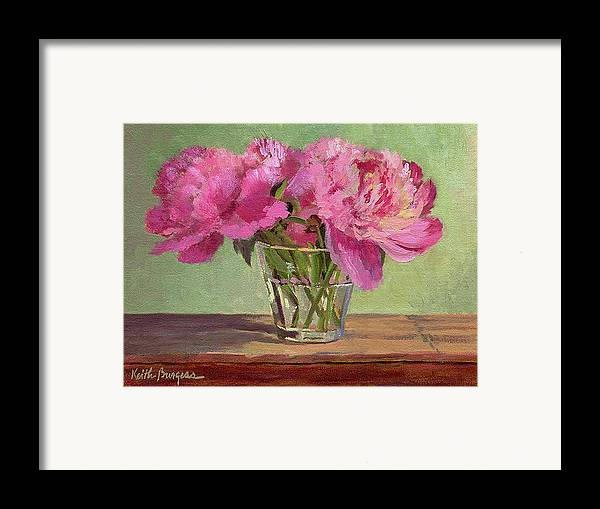 Still Framed Print featuring the painting Peonies In Tumbler by Keith Burgess