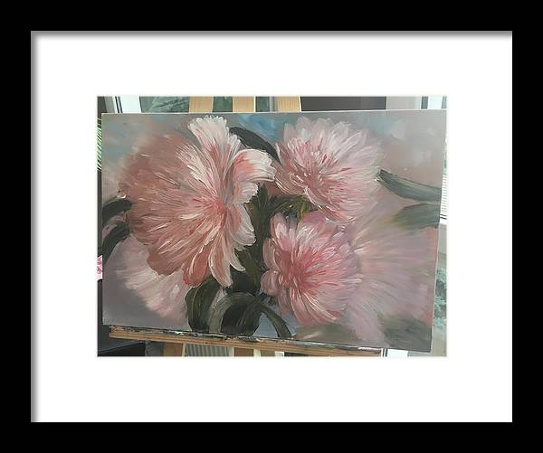 Flowers Framed Print featuring the painting Peonies by Oksana Voloshyn