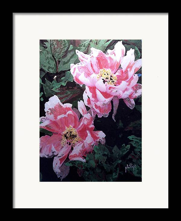 Flowers Framed Print featuring the painting Peony Blooms by Jim Phillips