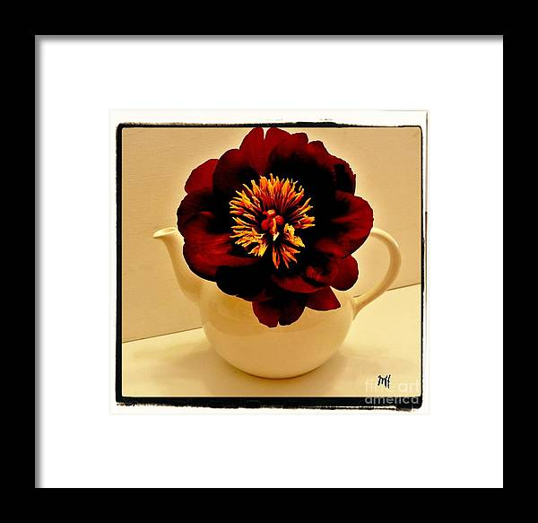 Photo Framed Print featuring the photograph Peony In A Tea Kettle by Marsha Heiken