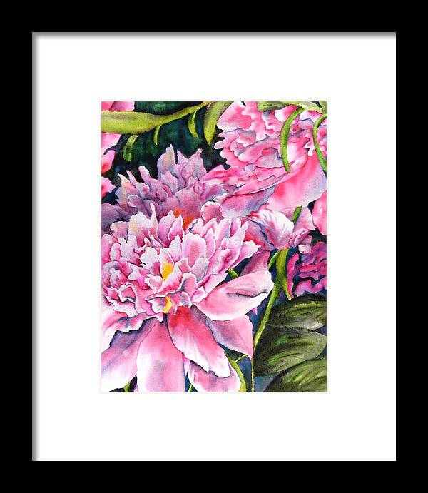 Peony Framed Print featuring the painting Peony In Pink by Diane Ziemski