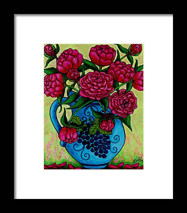 Peonies Framed Print featuring the painting Peony Party by Lisa Lorenz