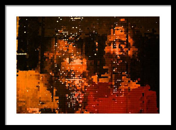 Mirror Framed Print featuring the painting People In Mirror by Sephora Silva
