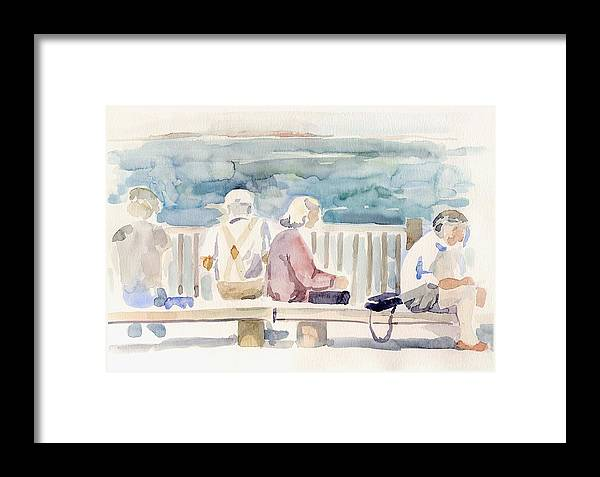People Paintings Framed Print featuring the painting People On Benches by Linda Berkowitz
