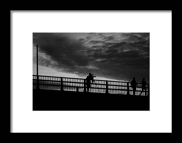 Landscape Framed Print featuring the photograph People On The Bridge by Bob Orsillo