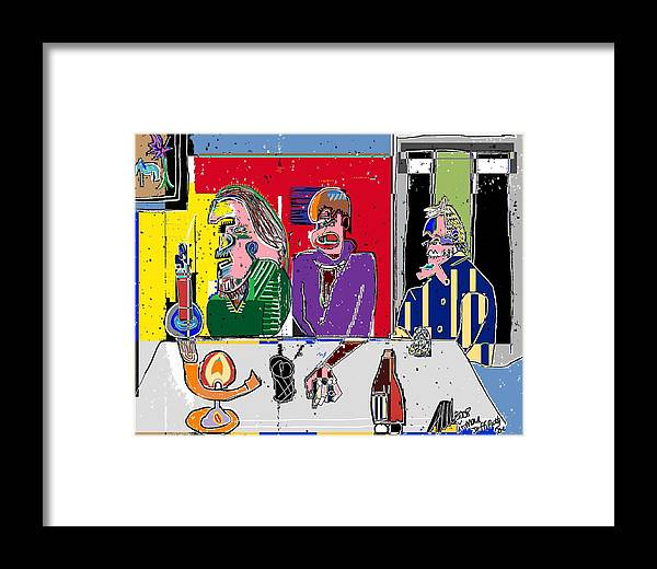 People Framed Print featuring the painting People Places Parties Politics 2008 by Michael OKeefe