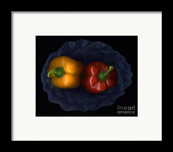 Slanec Framed Print featuring the photograph Peppers And Blue Bowl by Christian Slanec