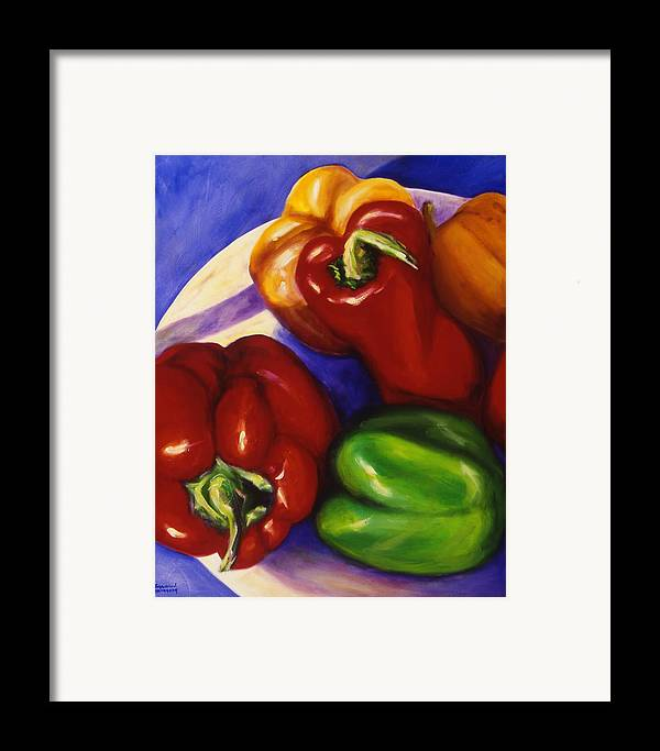 Still Life Peppers Framed Print featuring the painting Peppers In The Round by Shannon Grissom
