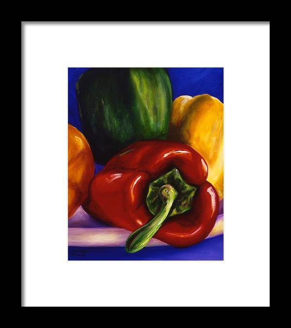 Still Life Framed Print featuring the painting Peppers on Peppers by Shannon Grissom