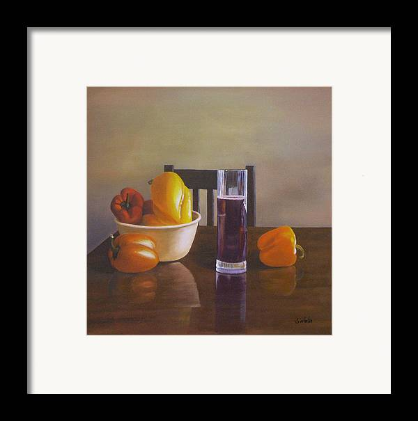 Still Life Framed Print featuring the painting Peppers On Table by Srilata Ranganathan