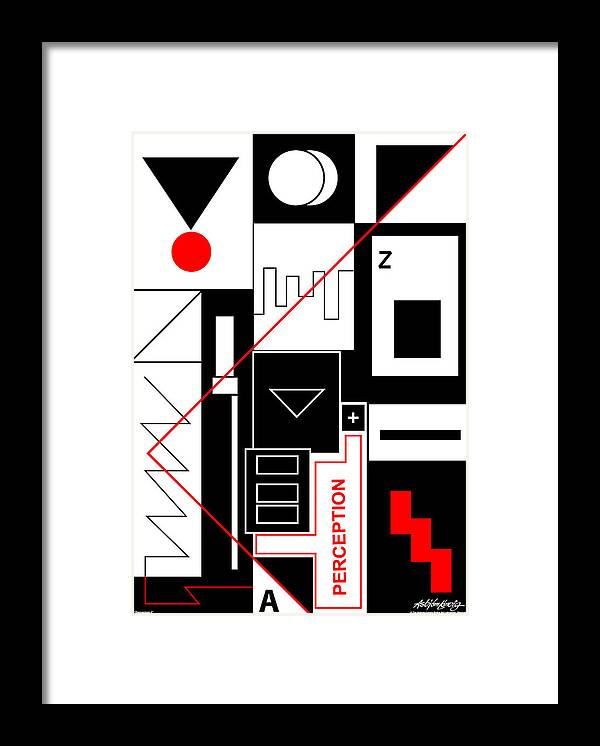 Perception Framed Print featuring the digital art Perception II - Text by Asbjorn Lonvig