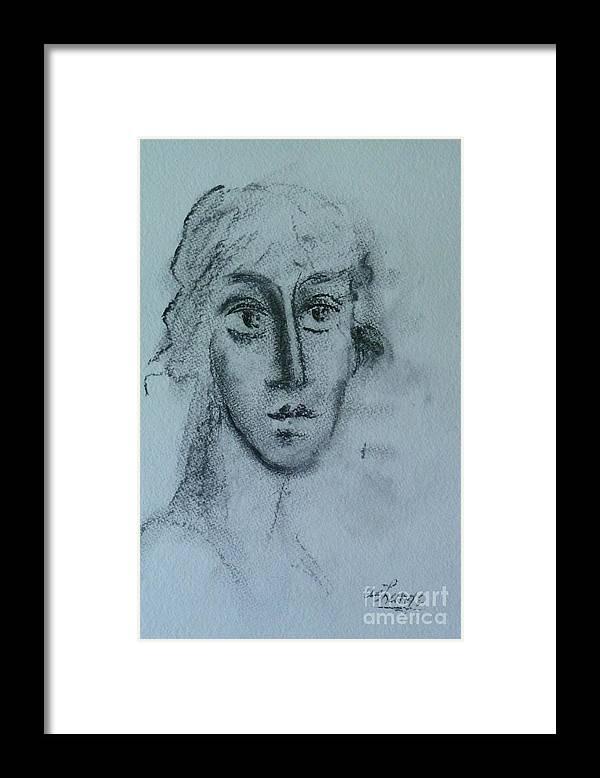 Woman Framed Print featuring the drawing Perceptive by Ushangi Kumelashvili