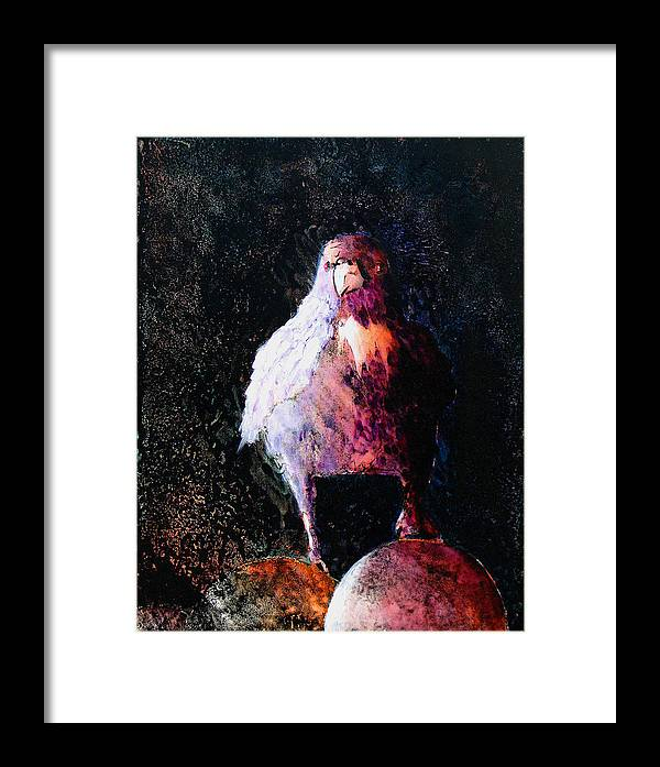 Raven Framed Print featuring the painting Perched by Sandy Applegate