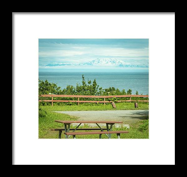 Mount Redoubt Framed Print featuring the photograph Perfect Picnic Spot by Edie Ann Mendenhall